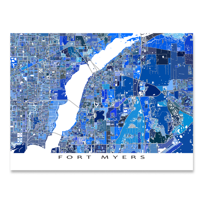 Fort Myers, Florida map art print in blue shapes designed by Maps As Art.