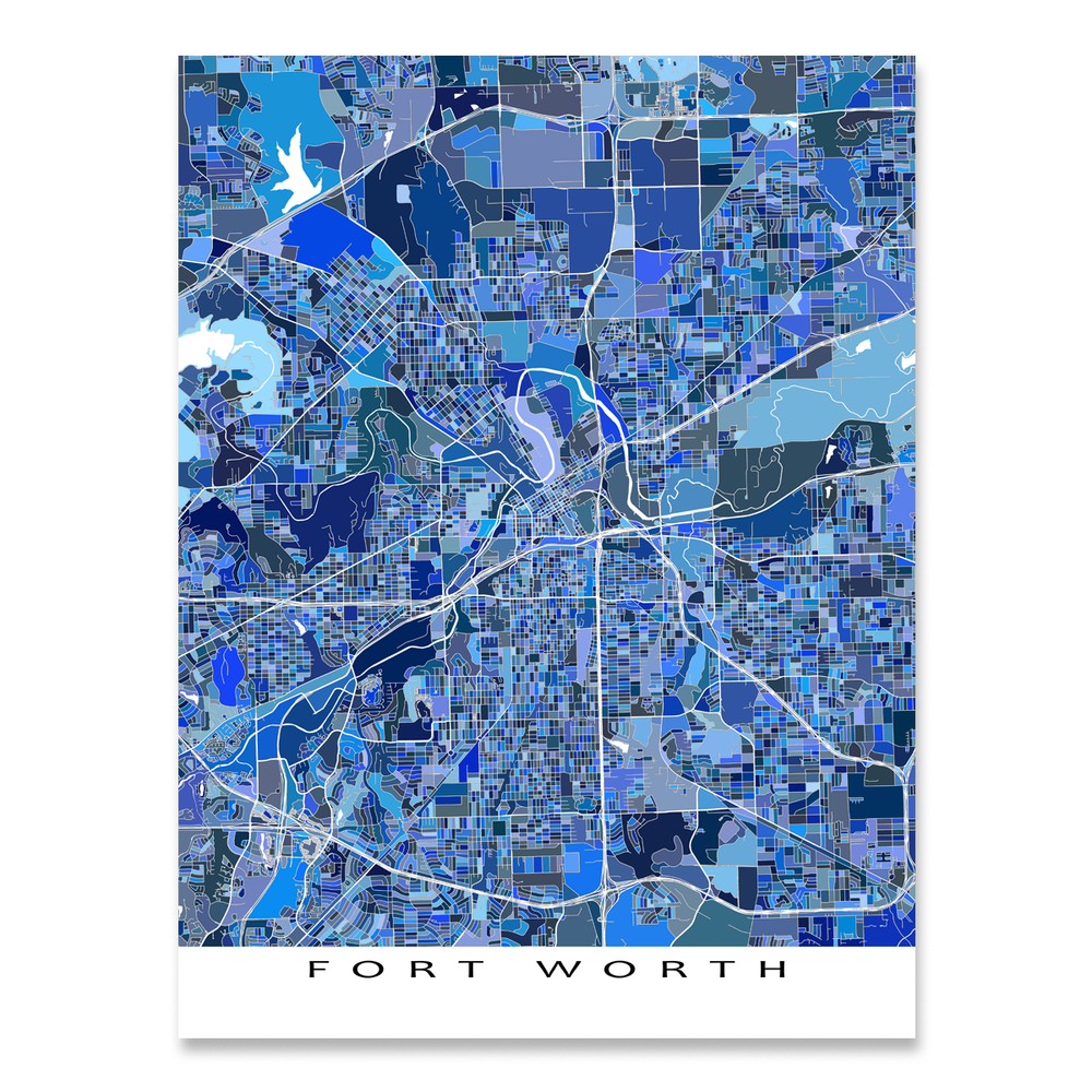 Fort Worth Map Print, Texas, USA