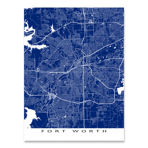 Fort Worth Map Print, Texas, Colors