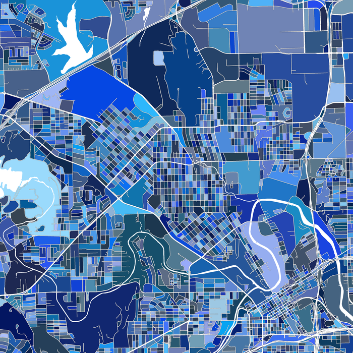 Fort Worth, Texas map art print in blue shapes designed by Maps As Art.