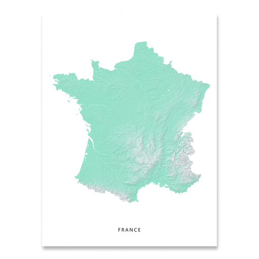 France map print with natural landscape in aqua tints designed by Maps As Art.