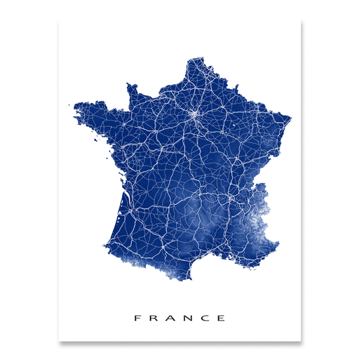 France country map print with natural landscape and main roads in Navy designed by Maps As Art.