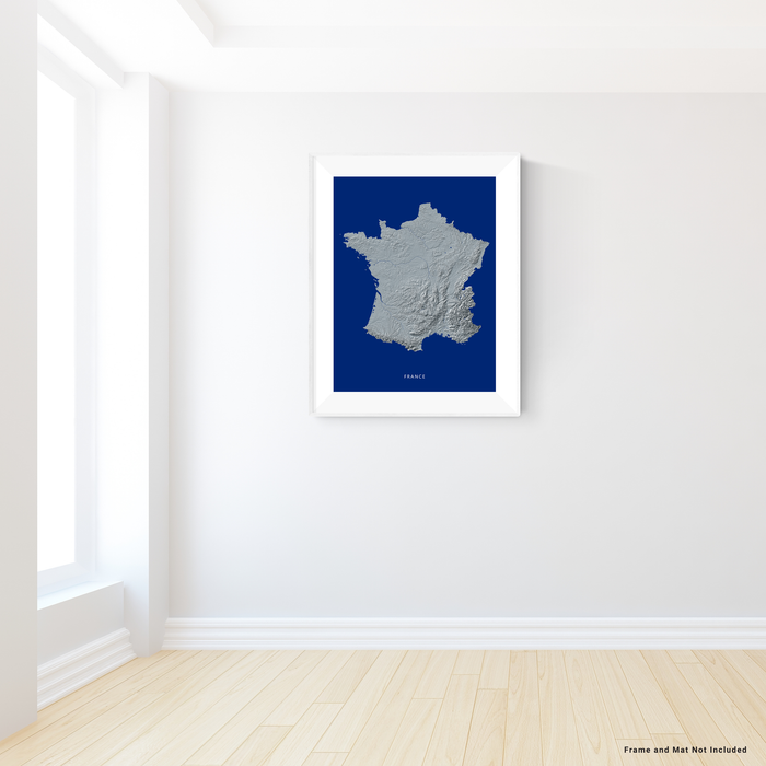 France map print with natural landscape in greyscale and a navy blue background designed by Maps As Art.