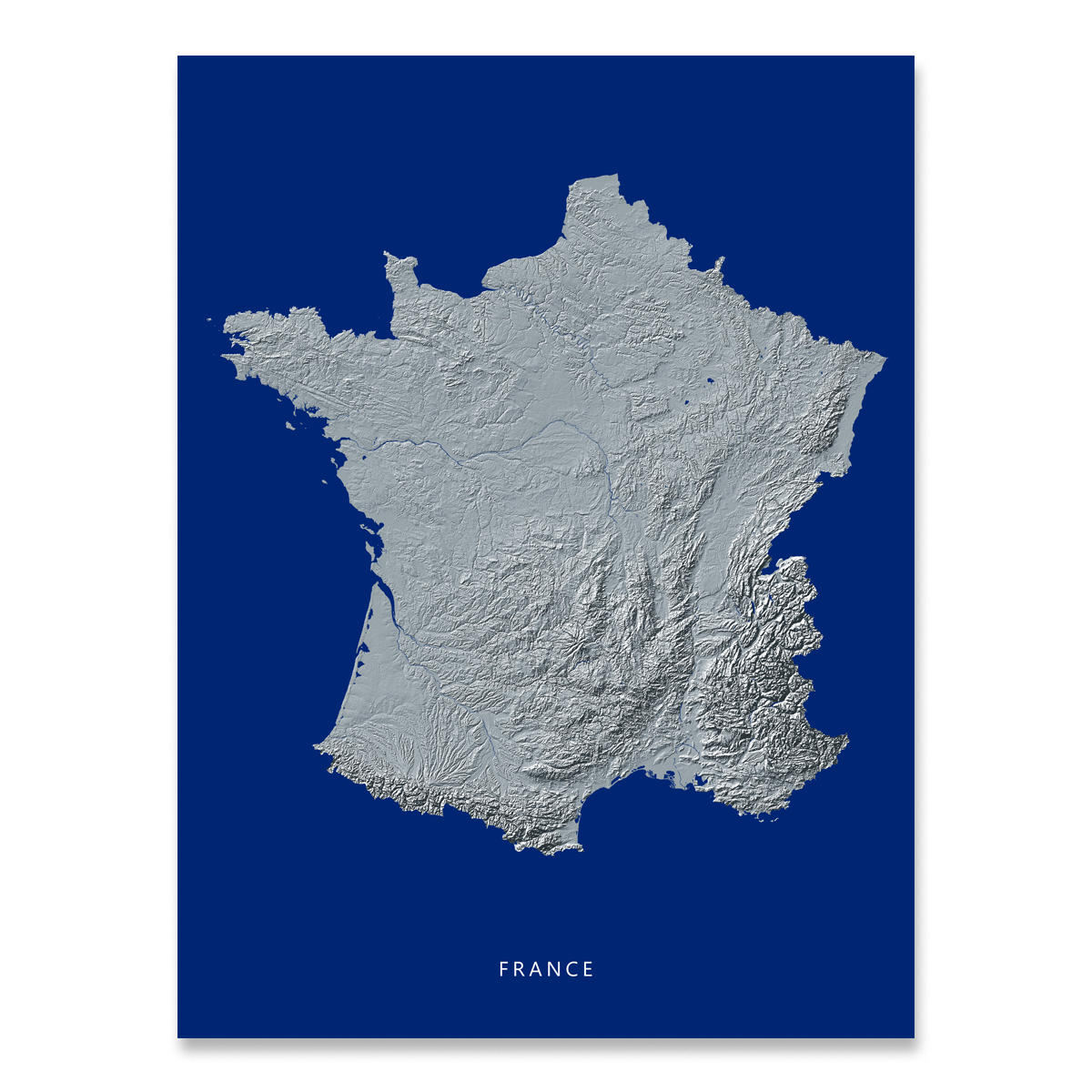 Map Of France To Print.France Map Print Navy Landscape