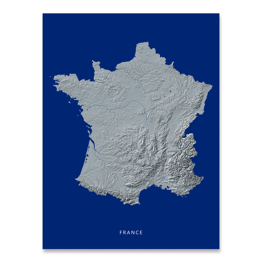 France Map Print, Navy Landscape