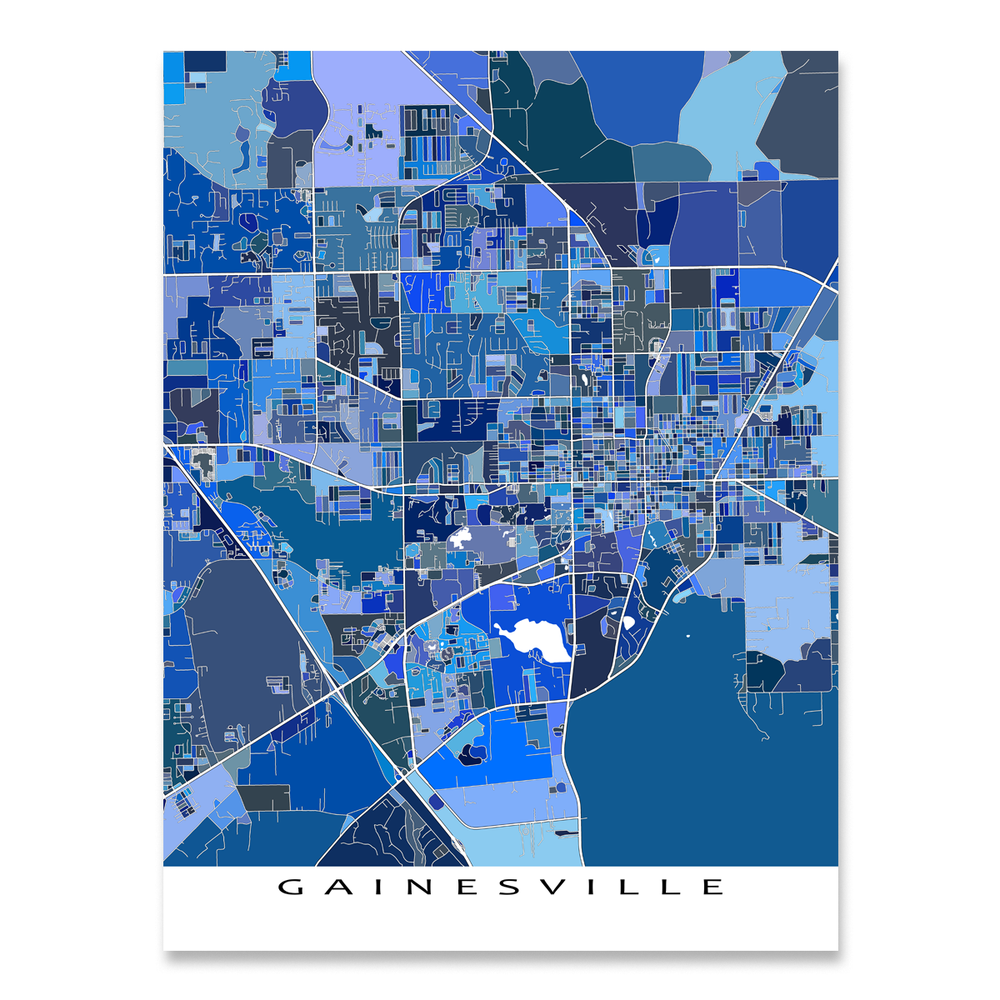 Gainesville, Florida map art print in blue shapes designed by Maps As Art.
