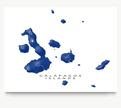 Galapagos Islands, Ecuador map print in Navy designed by Maps As Art.