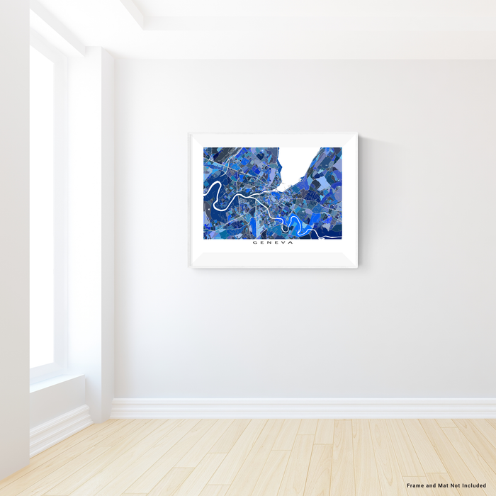 Geneva, Switzerland map art print in blue shapes designed by Maps As Art.