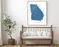 Georgia state map print with wooden bench home decor by Maps As Art.