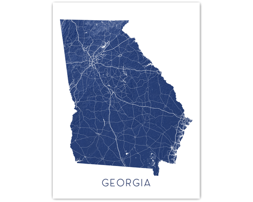 Georgia state map print in Midnight by Maps As Art.