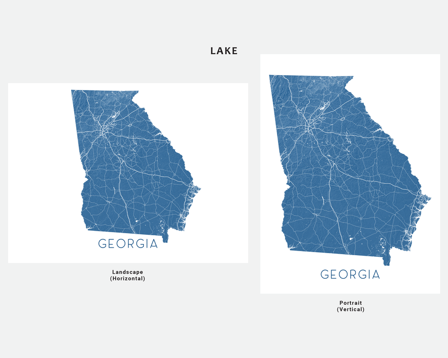 Georgia state map print in Lake by Maps As Art.