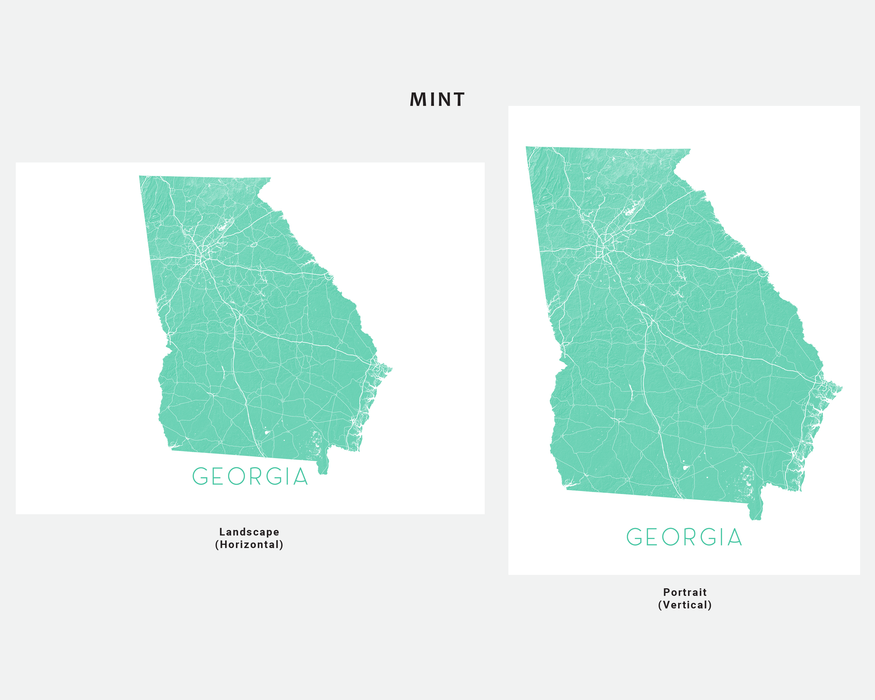 Georgia state map print in Mint by Maps As Art.