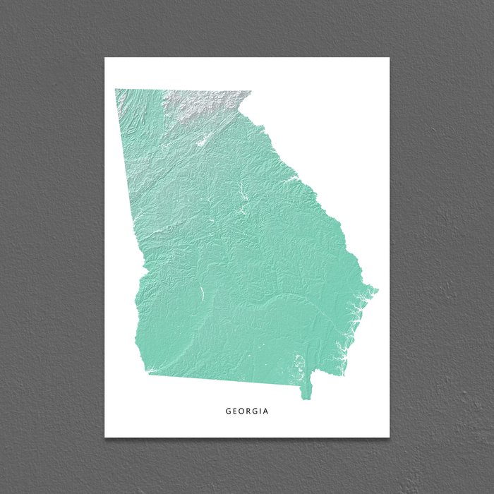 Georgia state map print with natural landscape in aqua tints designed by Maps As Art.