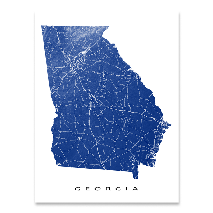 Georgia map print with natural landscape and main roads in Navy designed by Maps As Art.