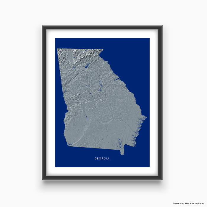 Georgia state map print with natural landscape in greyscale and a navy blue background designed by Maps As Art.