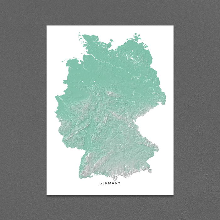 Germany map print with natural landscape in aqua tints designed by Maps As Art.