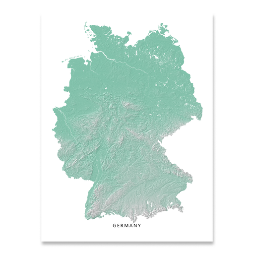 Germany Map Print, Aqua Landscape