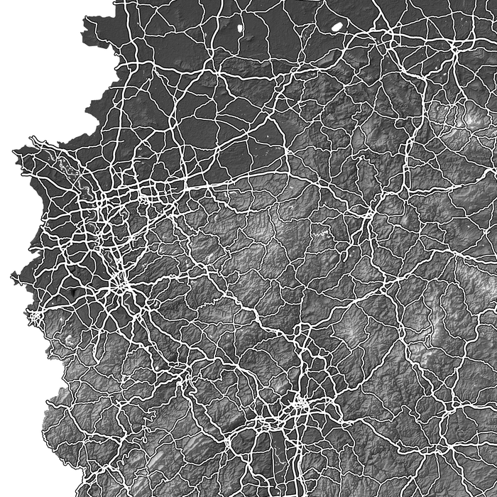 Germany map print close-up with natural landscape and main roads designed by Maps As Art.