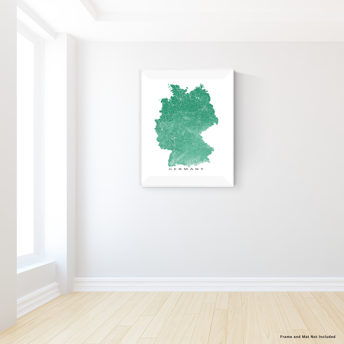 Germany map print with natural landscape and main roads in Green designed by Maps As Art.