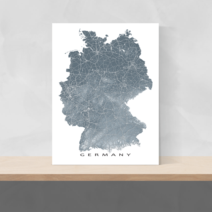 Germany map print with natural landscape and main roads in Slate designed by Maps As Art.
