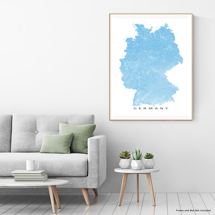 Germany map print with natural landscape and main roads in Malibu designed by Maps As Art.