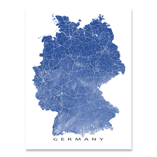 Germany map print with natural landscape and main roads in Navy designed by Maps As Art.