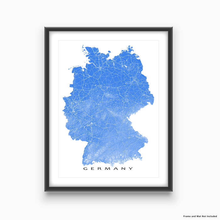 Germany map print with natural landscape and main roads in Blue designed by Maps As Art.