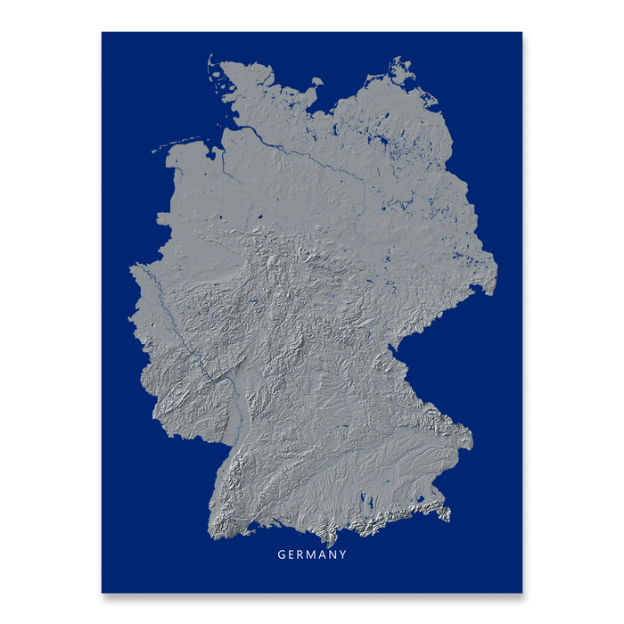 Map Of Germany To Print.Germany Map Print Navy Landscape