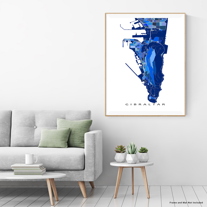 Gibraltar map art print in blue shapes designed by Maps As Art.