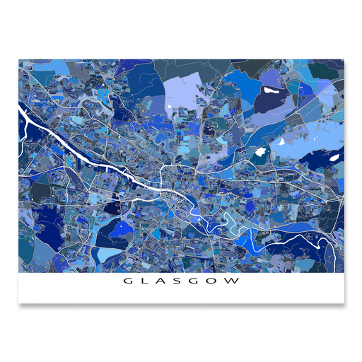Glasgow, Scotland map art print in blue shapes designed by Maps As Art.