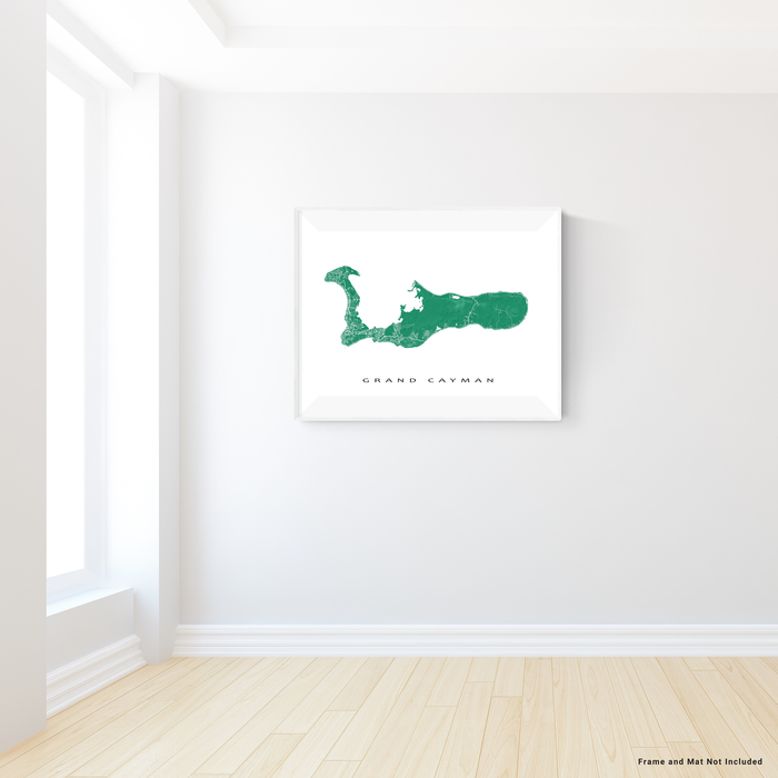Grand Cayman map print with natural landscape and main island roads in Green designed by Maps As Art.