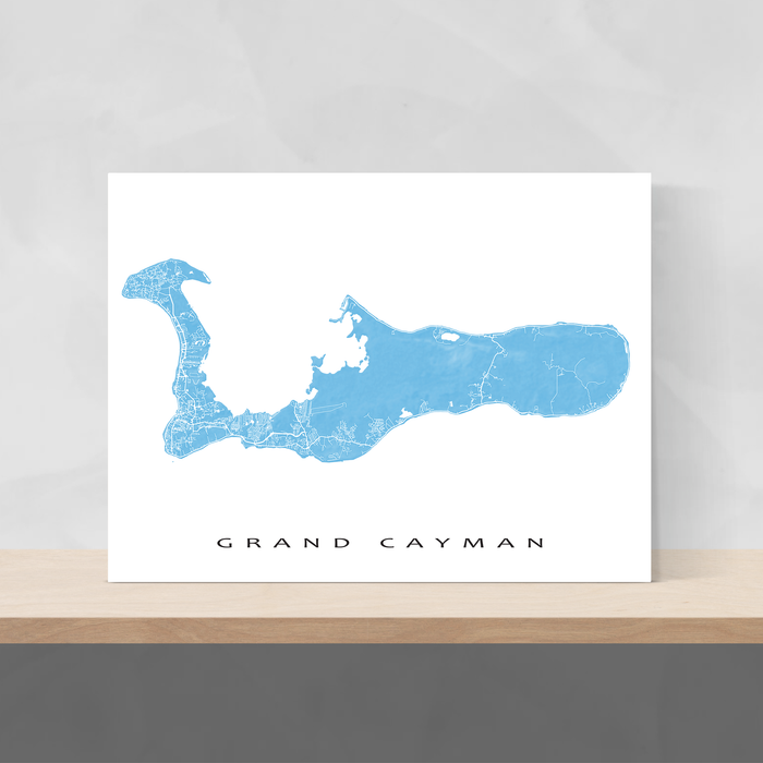 Grand Cayman map print with natural landscape and main island roads in Malibu designed by Maps As Art.