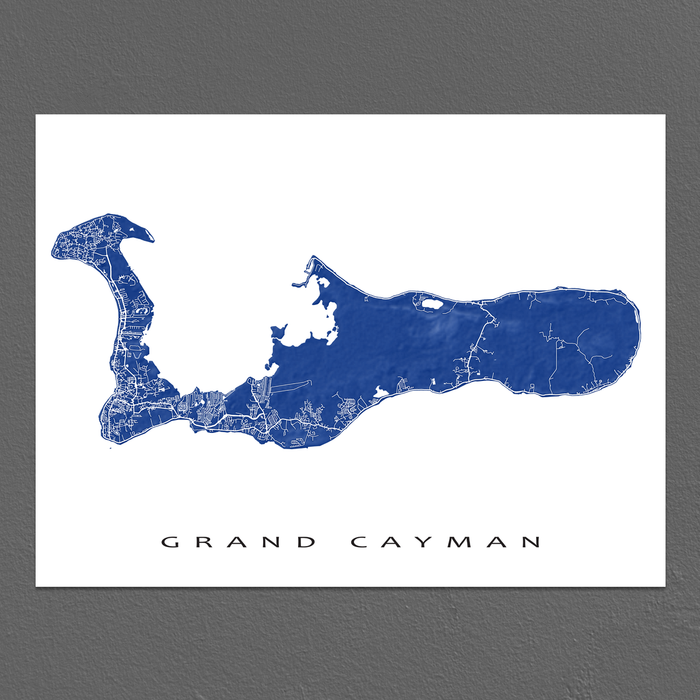 photograph relating to Printable Map of Grand Cayman named Grand Cayman Map Print, Cayman Islands, Colours
