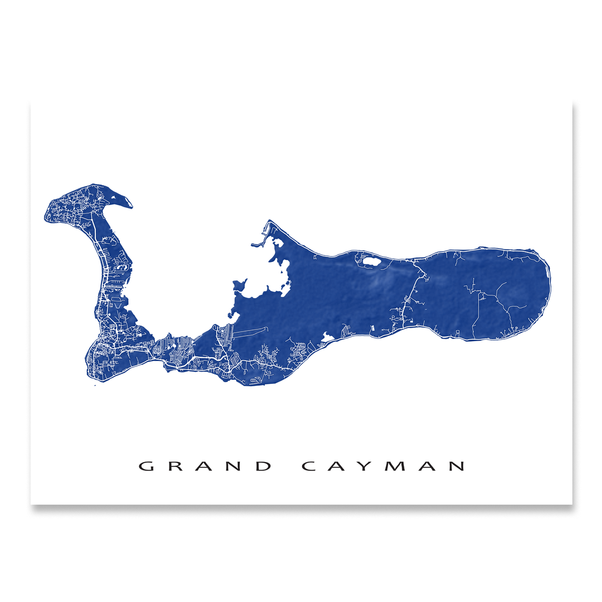 Grand Cayman map print with natural landscape and main island roads in Navy designed by Maps As Art.