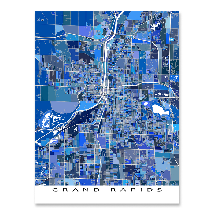 Grand Rapids, Michigan map art print in blue shapes designed by Maps As Art.