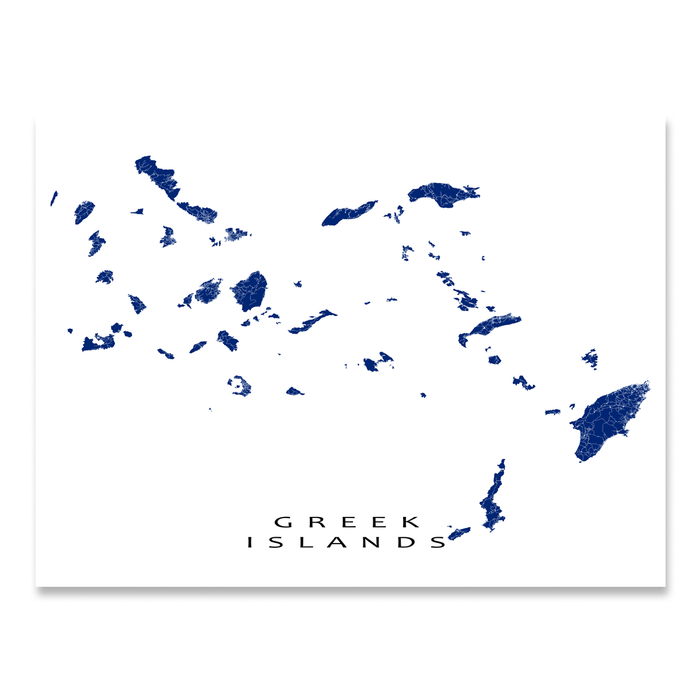 Greek Islands, Greece map print in Navy designed by Maps As Art.
