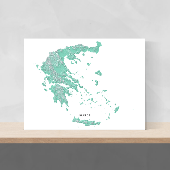 Greece map print with natural landscape in aqua tints designed by Maps As Art.