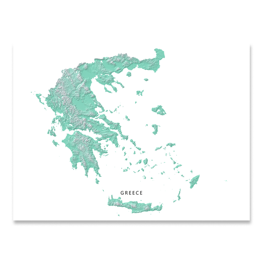 Greece Map Print, Aqua Landscape