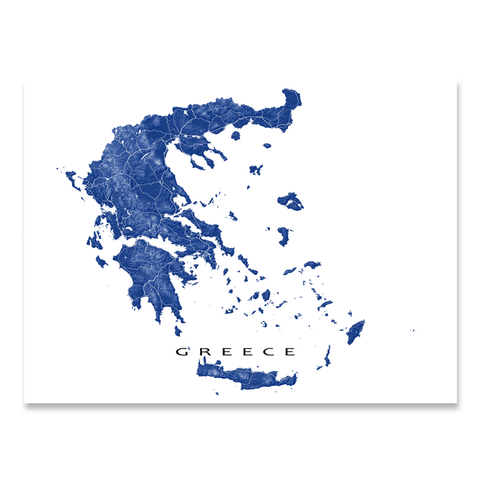 Greece map print with natural landscape and main roads in Navy designed by Maps As Art.