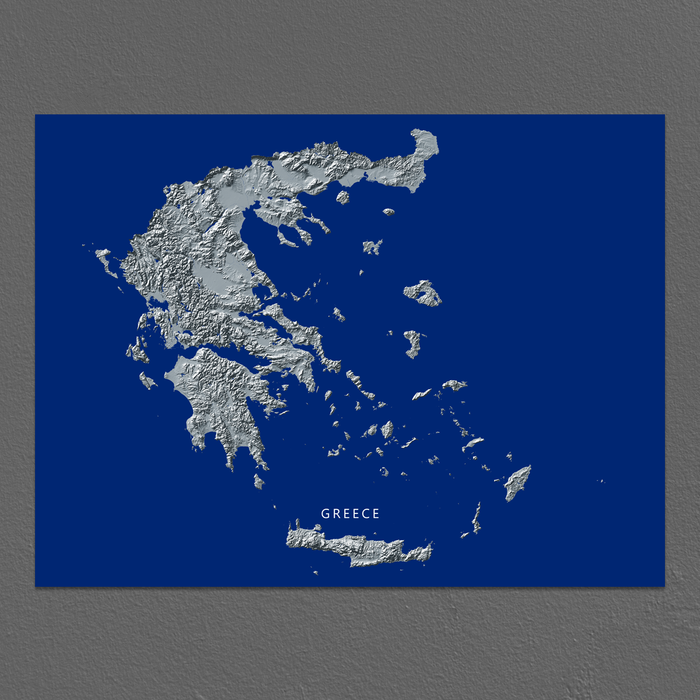 Greece map print with natural landscape in greyscale and a navy blue background designed by Maps As Art.