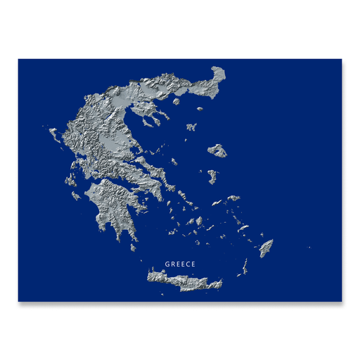 Greece Map Print, Navy Landscape