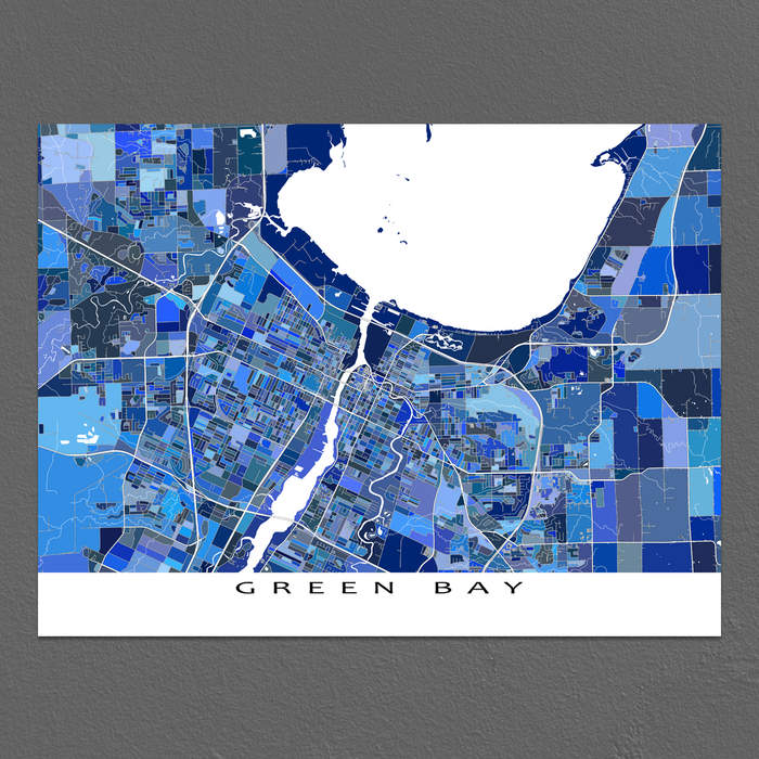 Green Bay Map Print, Wisconsin, USA