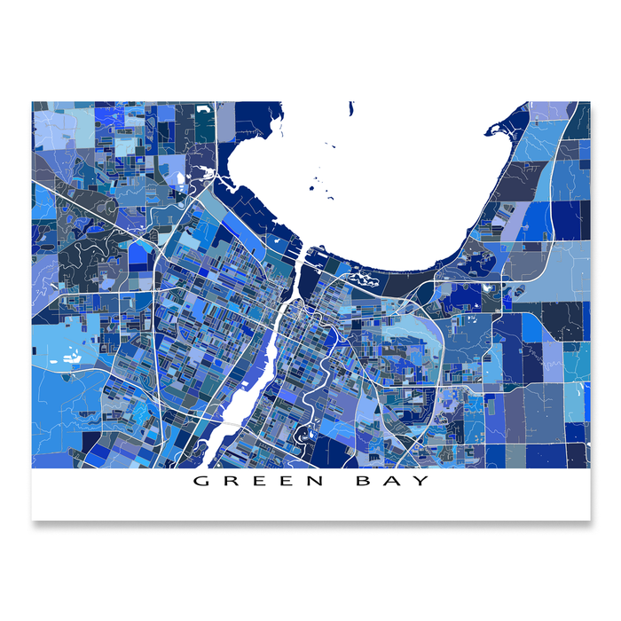 Green Bay, Wisconsin map art print in blue shapes designed by Maps As Art.