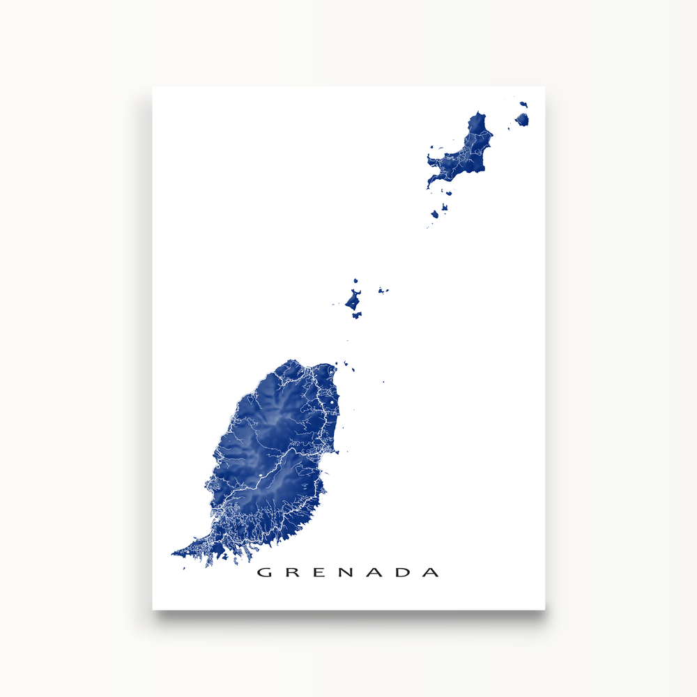 Grenada map print in Navy by Maps As Art.