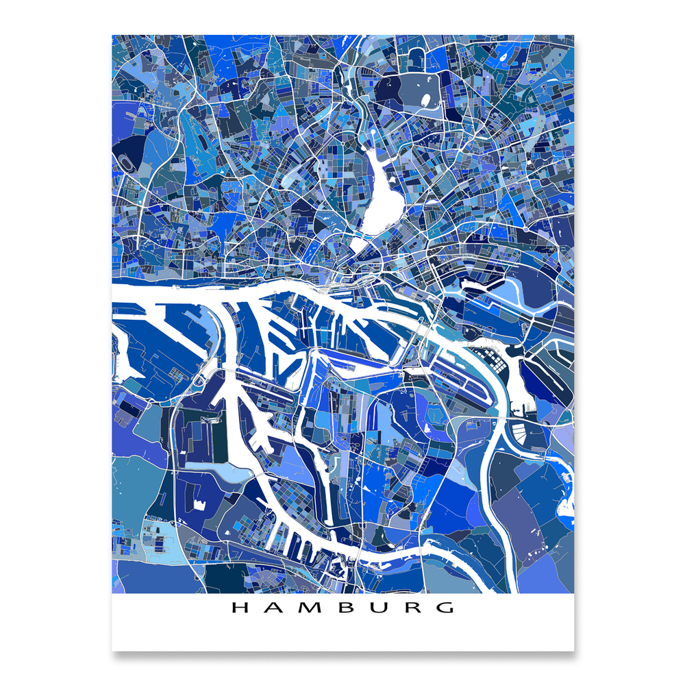 Hamburg Map Print, Germany