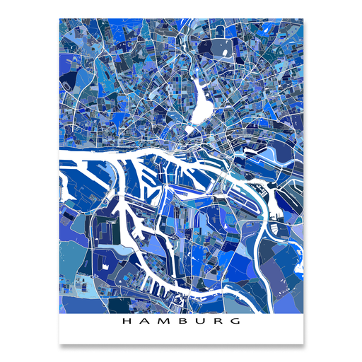 Hamburg, Germany map art print in blue shapes designed by Maps As Art.