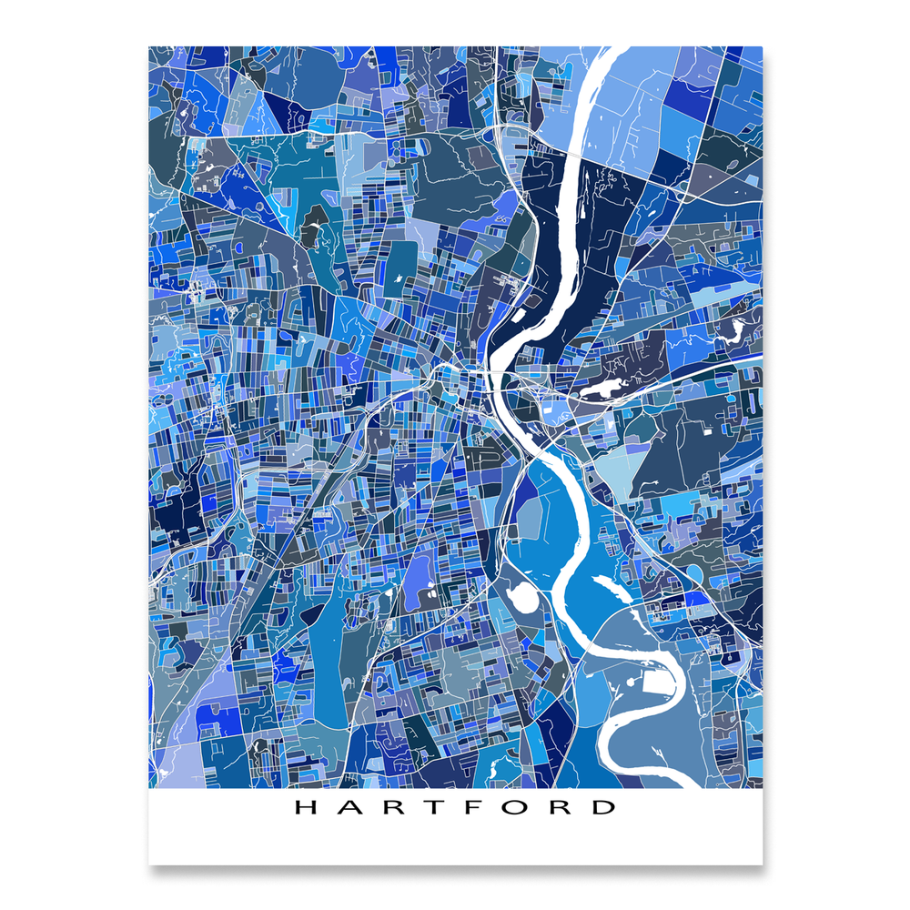 Hartford, Connecticut map art print in blue shapes designed by Maps As Art.