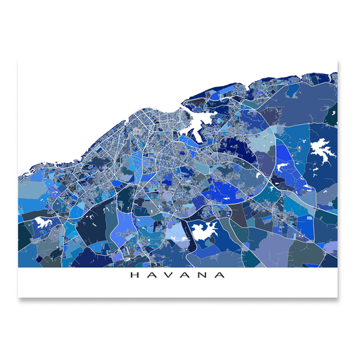 Havana, Cuba map art print in blue shapes designed by Maps As Art.