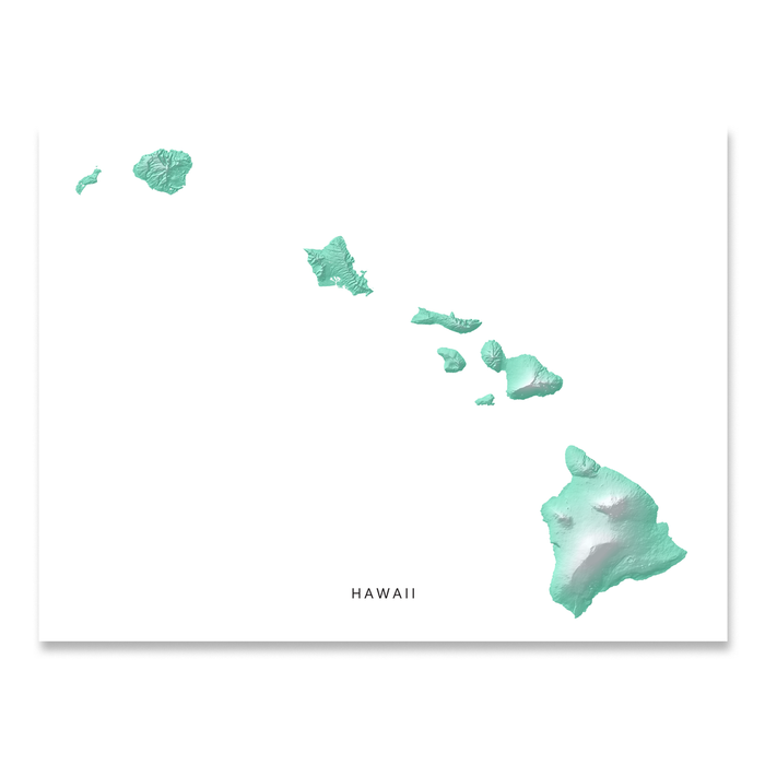 photo relating to Printable Maps of Hawaii known as Hawaii Map Print, Aqua Landscape