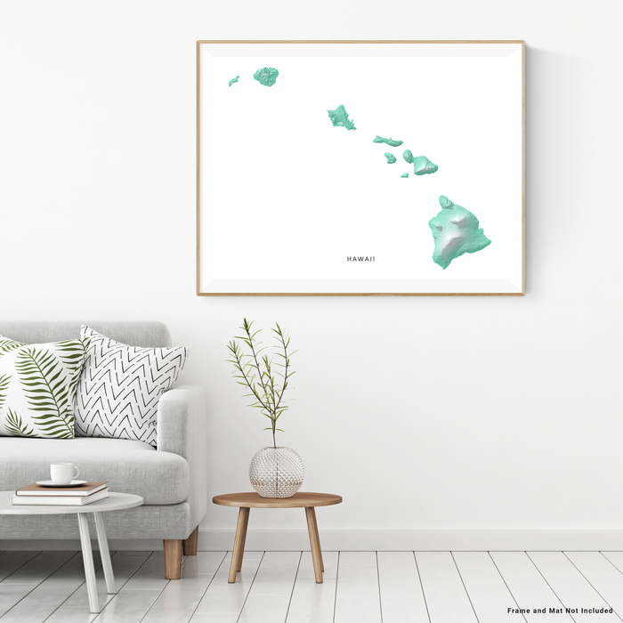 Hawaii map print with natural island landscape in aqua tints designed by Maps As Art.